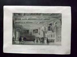 After Allom 1840 Antique Print. Saloon of Louis XIII, Fontainbleau. France